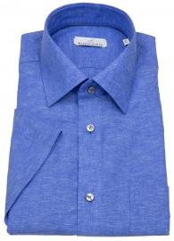 Kurzarmhemd - Modern Fit - Leinen - blau