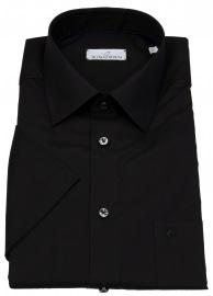 Kurzarmhemd - Regular Fit - Derby - schwarz