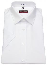 Kurzarmhemd - Body Fit - Kent Kragen - weiß