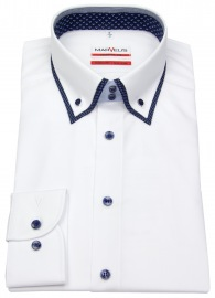 Hemd - Modern Fit - unterlegter Button Down Kragen - weiß