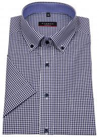 Kurzarmhemd - Modern Fit - Button Down - dunkelblau / weiß
