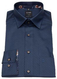 Hemd - Modern Fit - Under Button Down - Struktur - dunkelblau