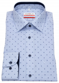 Hemd - Modern Fit - Print - Kontrastknöpfe - hellblau / weiß