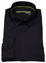 Hemd - Slim Fit - Button Down - Stretch - schwarz