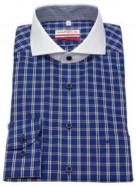 Hemd - Modern Fit - Kontrastkragen - kariert - blau / weiß - ohne OVP
