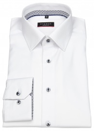 Hemd - Modern Fit - Cover Shirt - Kontrastk. - weiß - 68cm Arm