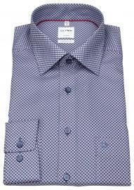 Hemd - Comfort Fit - New Kent - Print - blau / hellblau / rot