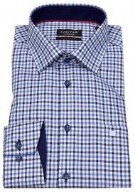 Hemd - Modern Fit - Twill - kariert - blau / weiß
