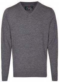 Pullover - Merinowolle - V-Ausschnitt - anthrazit