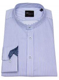 Hemd - Body Fit - Stehkragen - Streifen - blau / weiß