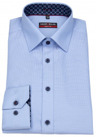 Hemd - Body Fit - Patch - Struktur - hellblau / weiß