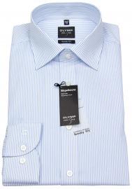 Hemd - Level Five Body Fit - Streifen - hellblau / weiß