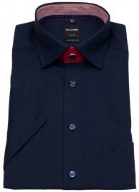 Kurzarmhemd - Modern Fit - Under Button Down - dunkelblau