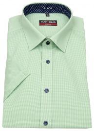 Kurzarmhemd - Body Fit - fein kariert - grün / weiß