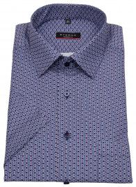 Kurzarmhemd - Modern Fit - Print - blau / rot