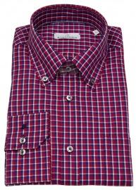 Hemd - Modern Fit - Button Down - rot / blau kariert