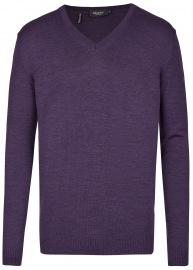 Pullover - Comfort Fit - V-Ausschnitt - Merinowolle -  lila