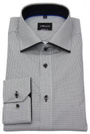 Hemd - Modern Fit - Haifischkragen - Print - schwarz / weiß
