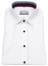 Kurzarmhemd - Comfort Fit - Patch - Kontrastknöpfe - weiß - ohne OVP