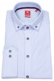 Hemd - Slim Fit - unterlegter Button Down - hellblau / weiß