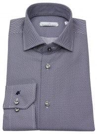 Hemd - Modern Fit - Haikragen - Print - dunkelblau / weiß
