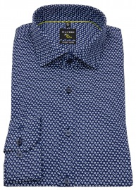 Hemd - No. Six Super Slim Fit - Print - dunkelblau / weiß