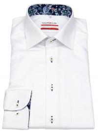 Hemd - Modern Fit - Struktur - Kontrastgarn - weiß