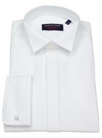 Hemd - Comfort Fit - Kläppchenkragen - verd. Knopfleiste - weiß