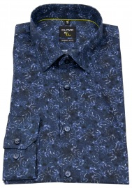 Hemd - No. Six Super Slim Fit - Print - dunkelblau / hellblau