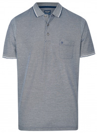OLYMP Poloshirt - Casual Fit - Piqué - dunkelblau / weiß