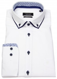 Hemd - Regular Fit - Patch - Button Down - weiß