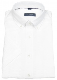 Kurzarmhemd - Modern Fit - Button Down - Struktur - weiß