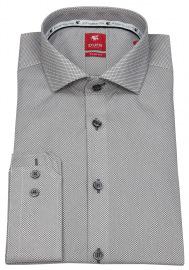 Pure Hemd - Slim Fit - Haifischkragen - grau / weiß