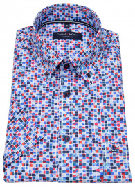 Kurzarmhemd - Comfort Fit - Button Down - Print - mehrfarbig