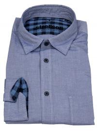 Hemd - Casual Fit - Kontrastknöpfe - blau