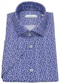 Kurzarmhemd - Modern Fit - Leinen - Print - blau / weiß