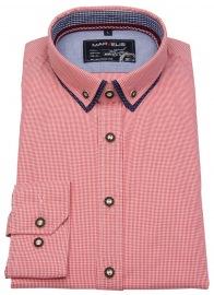 Trachtenhemd - Button Down - rot / weiß kariert