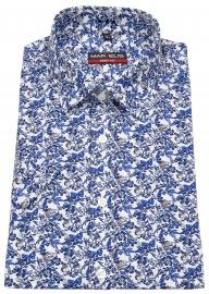 Kurzarmhemd - Body Fit - Muster - blau / weiß