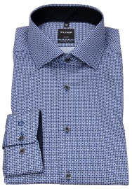 Hemd - Luxor Modern Fit - Patch - Print - blau - 69cm Arm