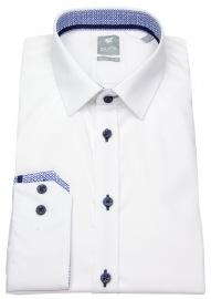 Hemd - Extra Slim - Patch - Kontrastknöpfe - weiß - 70cm Arm