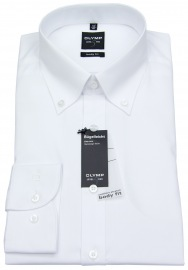 Hemd - Level Five Body Fit - Button Down Kragen - weiß