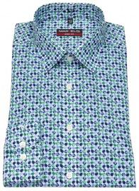 Hemd - Body Fit - Print - dunkelblau / grün