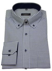 Hemd - Comfort Fit - Button Down - beige / blau / weiß