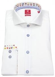 Hemd - Slim Fit - Haikragen - Kontrastknöpfe - weiß