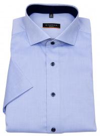 Kurzarmhemd - Slim Fit - Stretch - Kontrastknöpfe - hellblau