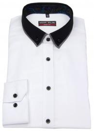 Hemd - Body Fit - Button Down Kontrastkragen - weiß