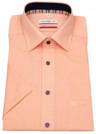 Kurzarmhemd - Modern Fit - Kontrastknöpfe - kariert - orange