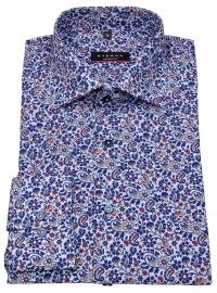 Hemd - Modern Fit - Haikragen - Print - blau / rot