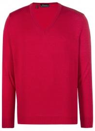 Pullover - Comfort Fit - V-Ausschnitt - Merinowolle - rot