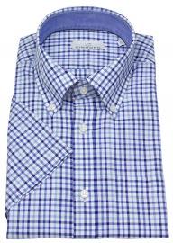 Kurzarmhemd - Modern Fit - Button Down - blau / weiß kariert